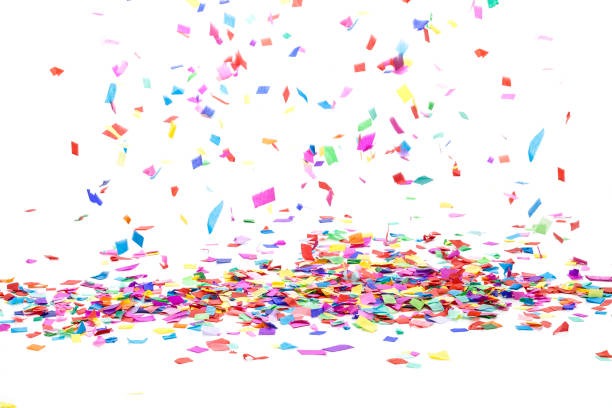 multi colored confetti background - confete imagens e fotografias de stock