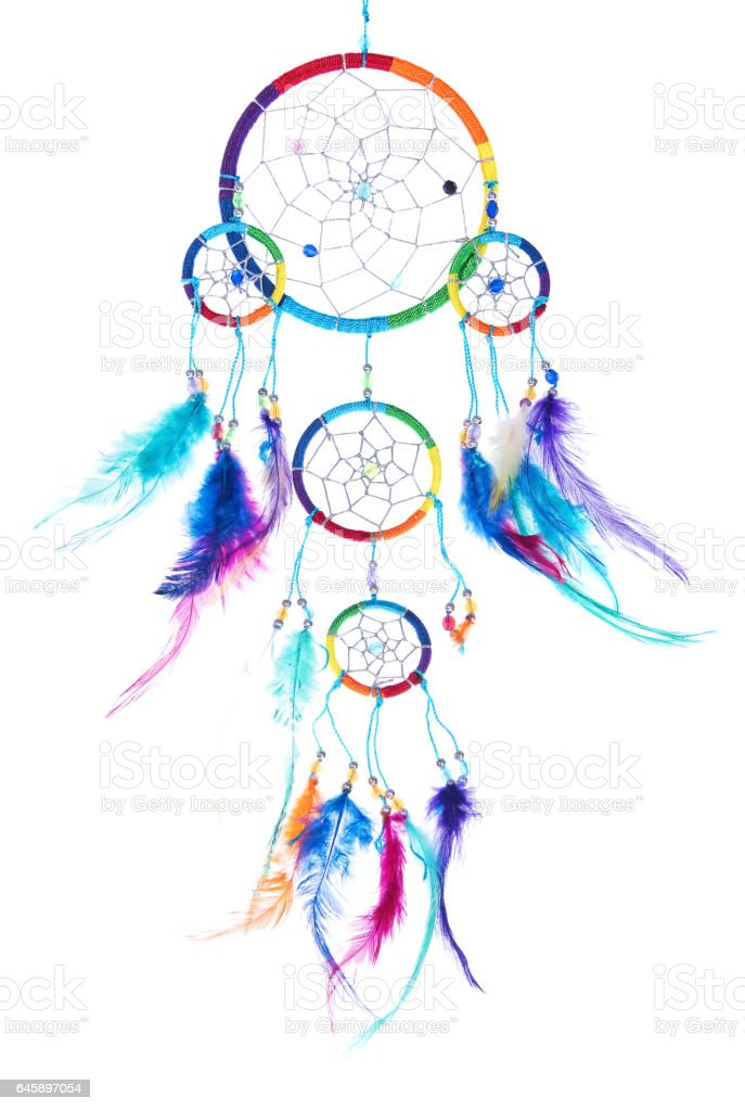 Multi colored dream catcher with feathers, with beads, rim. - Photo