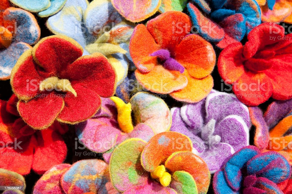 Multi Colored Felt Flowers royalty-free stock photo