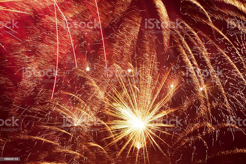 Multi Colored Fireworks royalty-free stock photo