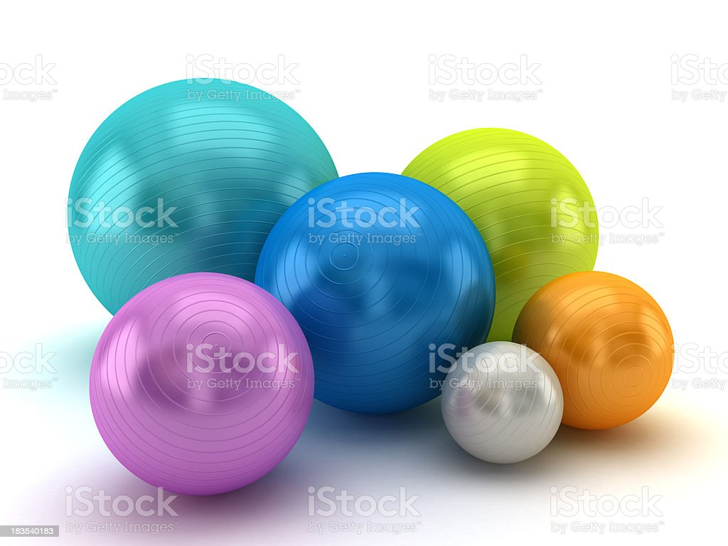 Multi colored fitness balls royalty-free stock photo