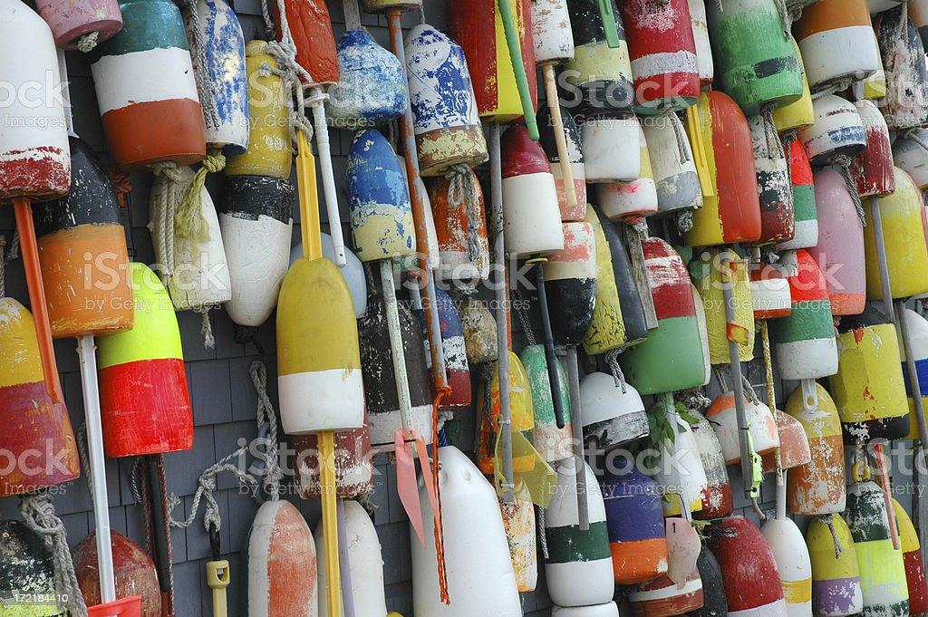 Multi Colored Floats Provincetown Massachusetts stock photo