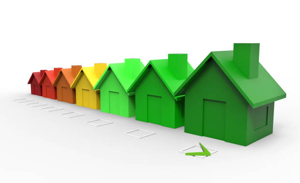 multi colored houses energy efficiency directive concept - energy performance certificate stock photos and pictures