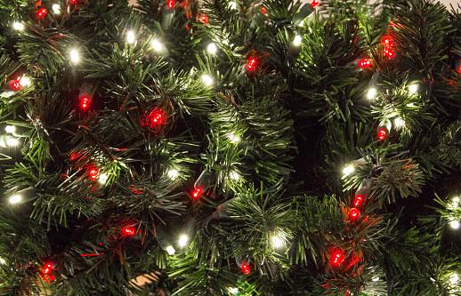 Multi Colored Illuminated Lights On Christmas Tree