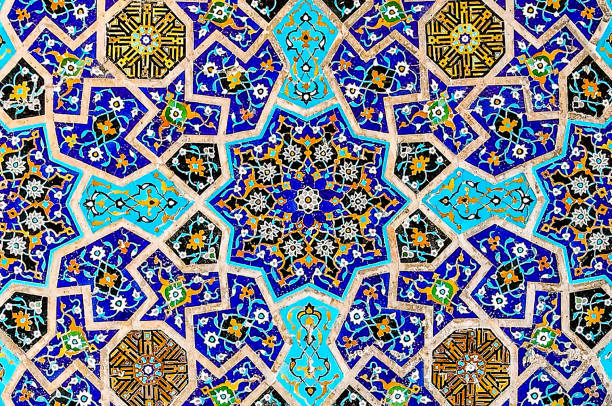 Multi colored Islamic mosaic art Persian geometrical mosaic art and pattern persian culture stock pictures, royalty-free photos & images