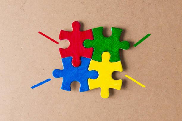 Multi farbige Jigsaw puzzle – Foto