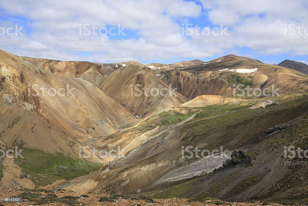Multi Colored Landscape in Landmannalaugar Icealnd royalty-free stock photo