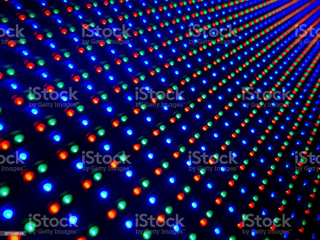 Big LED screen with the colours red,green and blue pin lights in a...