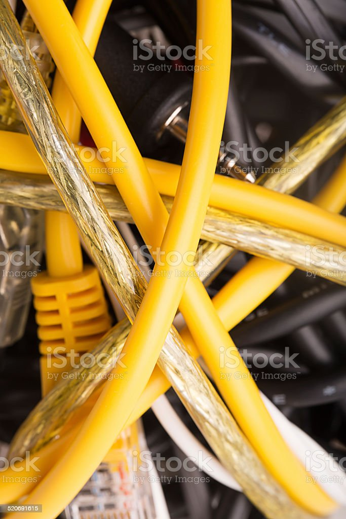 Multi Colored Network Cables stock photo