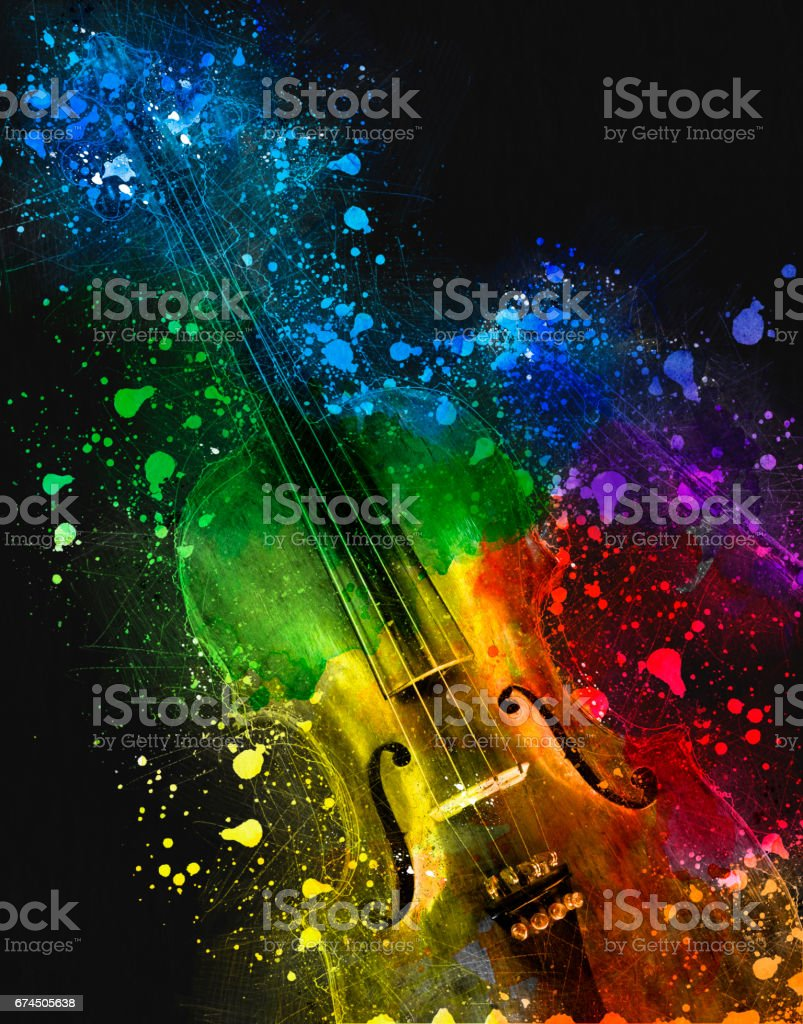 Multi colored Old Violin stock photo