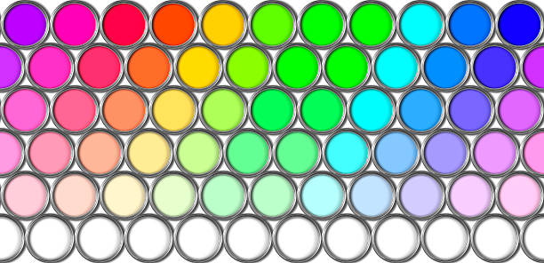 Multi Colored Paint Pots That Tile Horizontally stock photo
