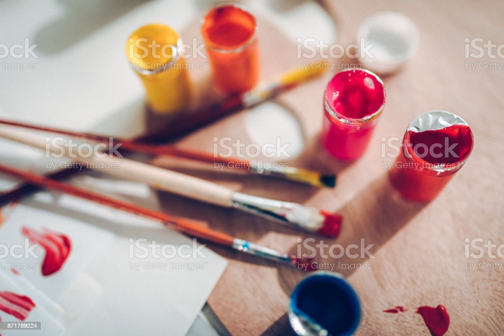 Multi colored palette stock photo