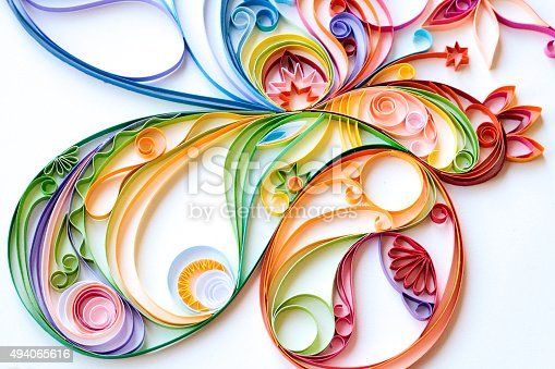 istock Multi Colored Paper Quilled Pattern 494065616