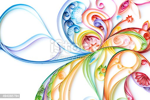 istock Multi Colored Paper Quilled Pattern 494065794