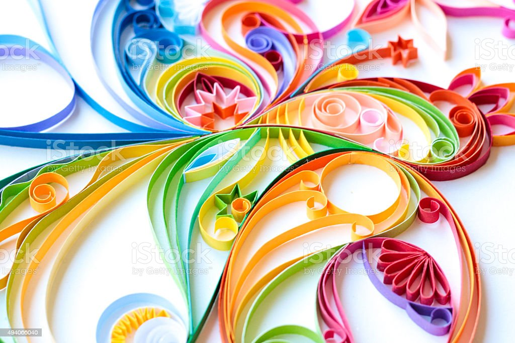 Multi Colored Paper Quilled Pattern stock photo