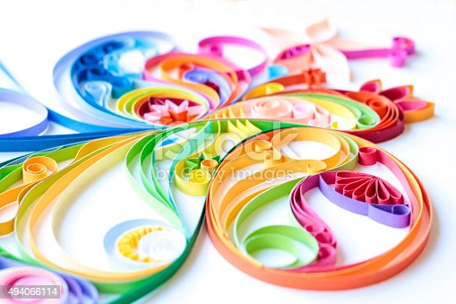 istock Multi Colored Paper Quilled Pattern 494066114