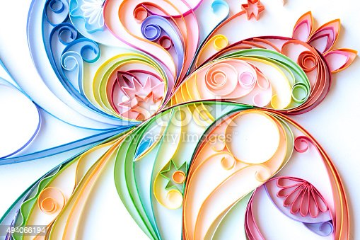 istock Multi Colored Paper Quilled Pattern 494066194