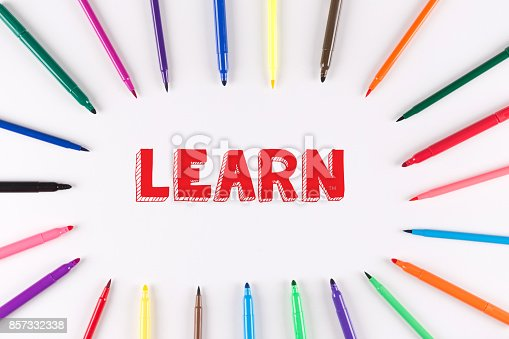 850892616istockphoto EDUCATION CONCEPT: Multi Colored Pen written LEARN 857332338