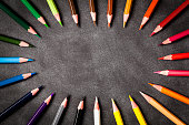 Top view of a large group of multi colored pencils arranged all around the border of a black blackboard with traces of erased chalk pointing at the center of the frame and leaving a useful copy space for text and/or logo. DSRL studio photo taken with Canon EOS 5D Mk II and Canon EF 100mm f/2.8L Macro IS USM