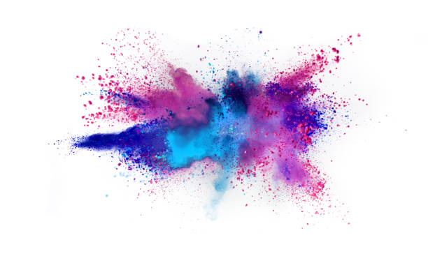 Multi colored powder explosion isolated on white Multi colored powder explosion isolated on white background. Freeze motion of abstract dust texture. powder snow stock pictures, royalty-free photos & images
