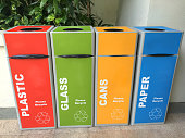 Multi colored recycle bins