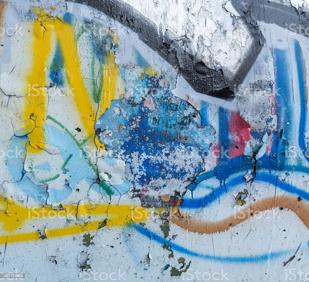 Multi Colored Spray Paint Peeling On Concrete Wall Texture