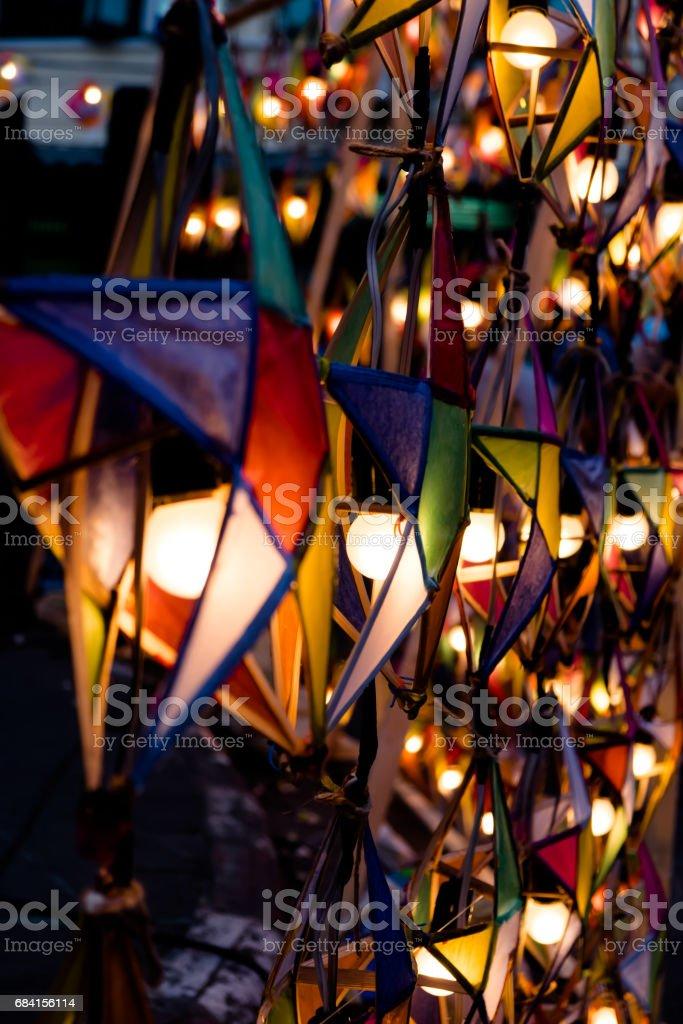 Multi gekleurde sterren lampen royalty free stockfoto