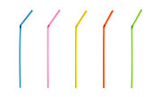 Multi colored drinking straws isolated on white