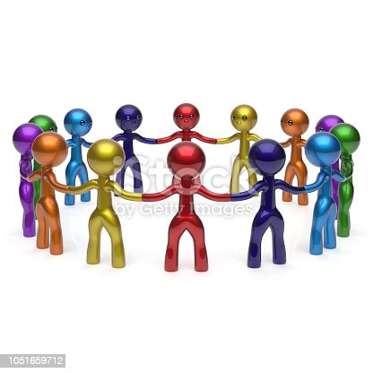 688200936istockphoto Multi colored Teamwork stylized men together circle chain social network 1051659712