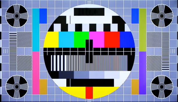 TV multi colored test pattern for digital television stock photo
