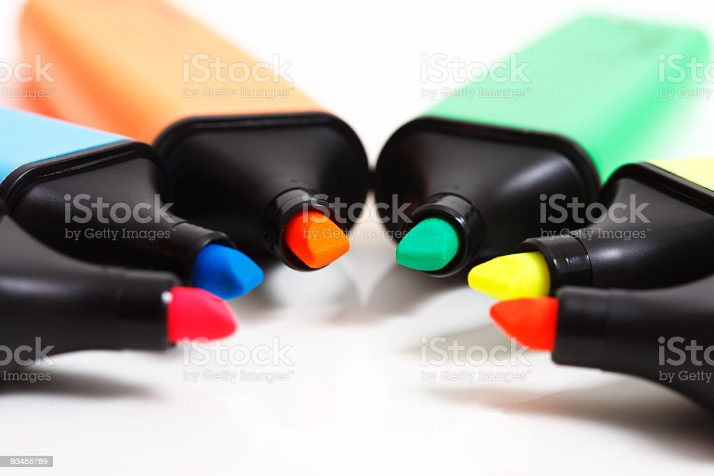 Multi colored text markers stock photo