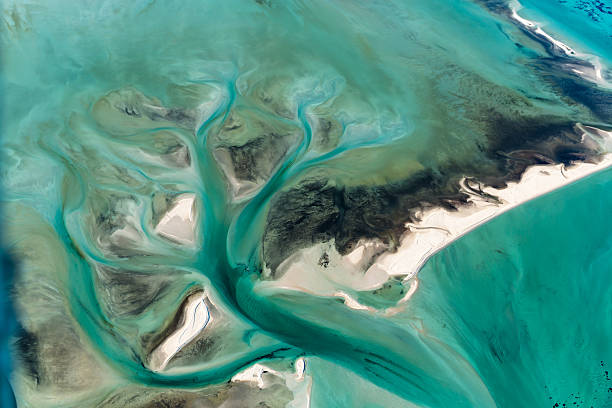 Multi Colored Tidal Water Channels Transforming the White Sand Banks Aerial view of Multi Colored Tidal Water Channels Transforming the White Sand Banks on a Sunny Day at Shark Bay Western Australia oceania stock pictures, royalty-free photos & images