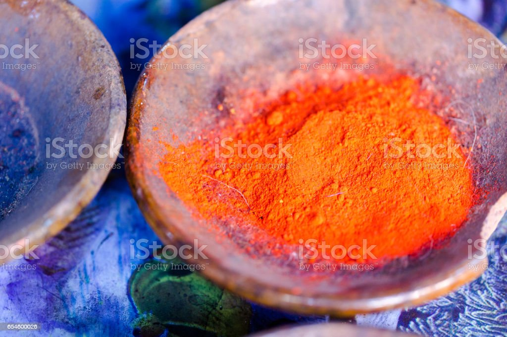 Multi colour powders detailed macro shot stock photo