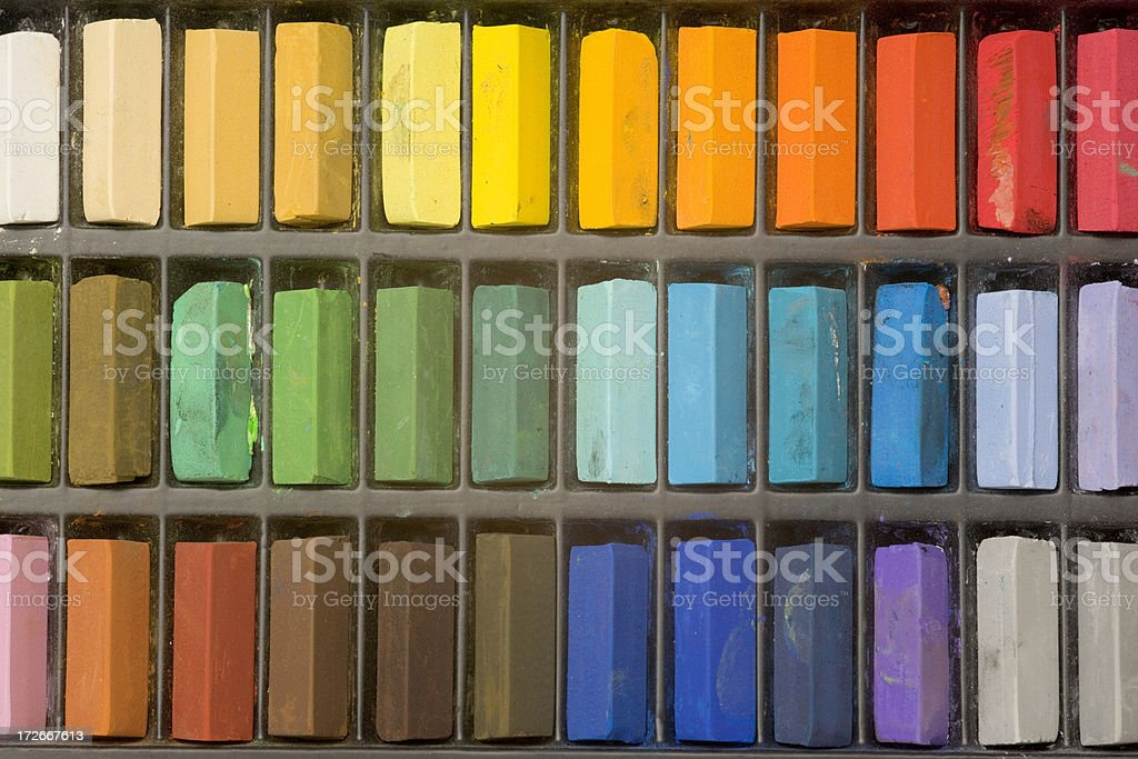 Multi coloured art pastel crayons full frame close up royalty-free stock photo