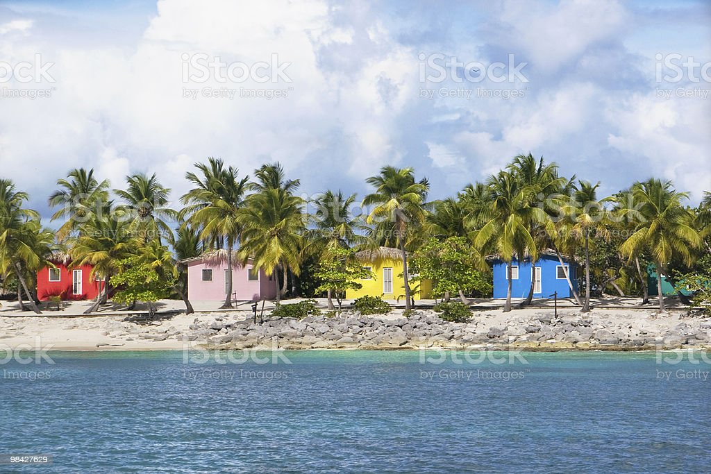 Multi coloured beach houses royalty-free stock photo