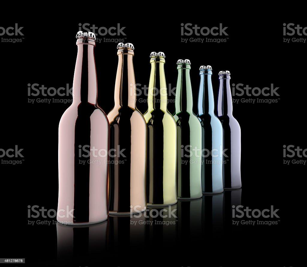 Multi coloured bottles stock photo