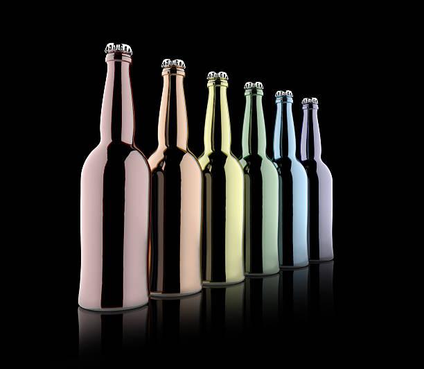mehrfarbige flaschen - recycelte weinflaschen stock-fotos und bilder