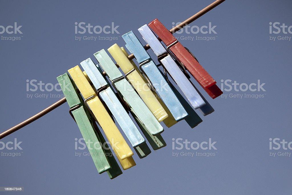 Multi coloured clothes peg royalty-free stock photo