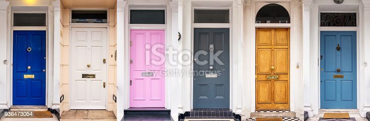 istock Multi coloured doors of London 936473054