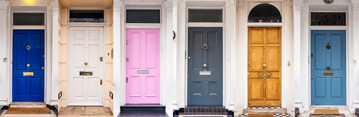 A high resolution composite image of six door entrances to multiple apartment properties in London, England.
