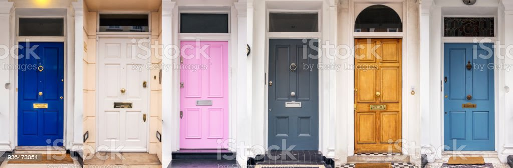 Multi coloured doors of London stock photo