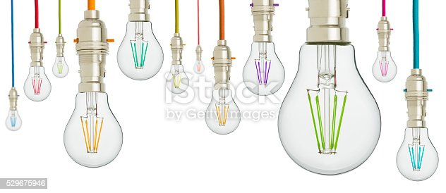 Multi coloured light bulbs hanging from coloured cord. Isolated on a pure white background.