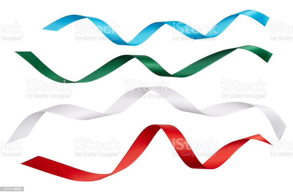 Multi coloured ribbons, cut out on white background