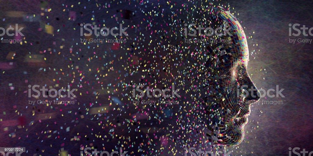 Multi cor quadrados em meados recolhimento de ar para a cabeça de forma - Foto de stock de Abstrato royalty-free