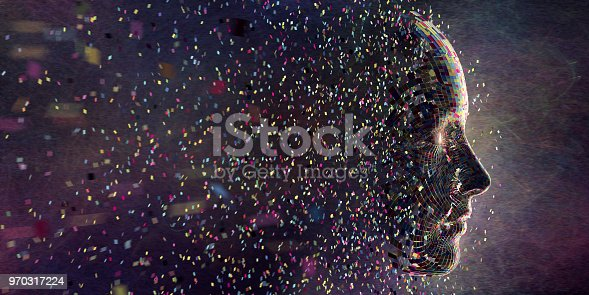 istock Multi Coloured Squares in Mid Air Gathering To Form Head 970317224