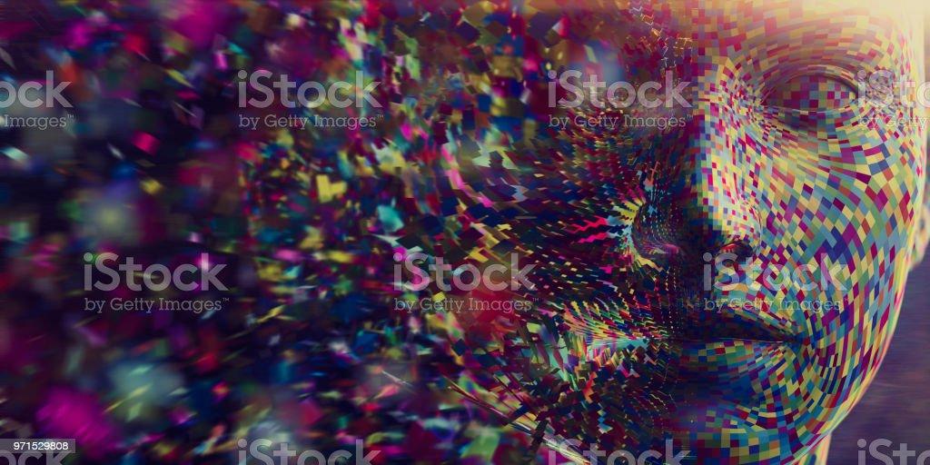 Multi farbige Quadrate in Mitte Luft-Versammlung zu bilden den Kopf – Foto
