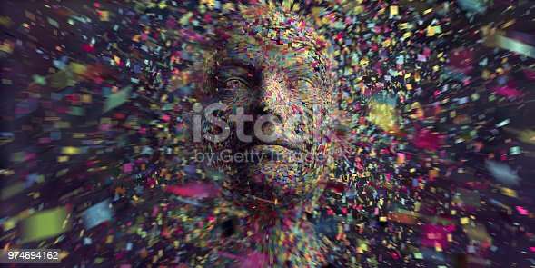 A conceptual images of thousands of multi coloured squares all moving in mid air against a black background, coalescing to form a the profile of a head. This image is very abstract and could illustrate artificial intelligence, machine learning, or connection. With motion blur effects.