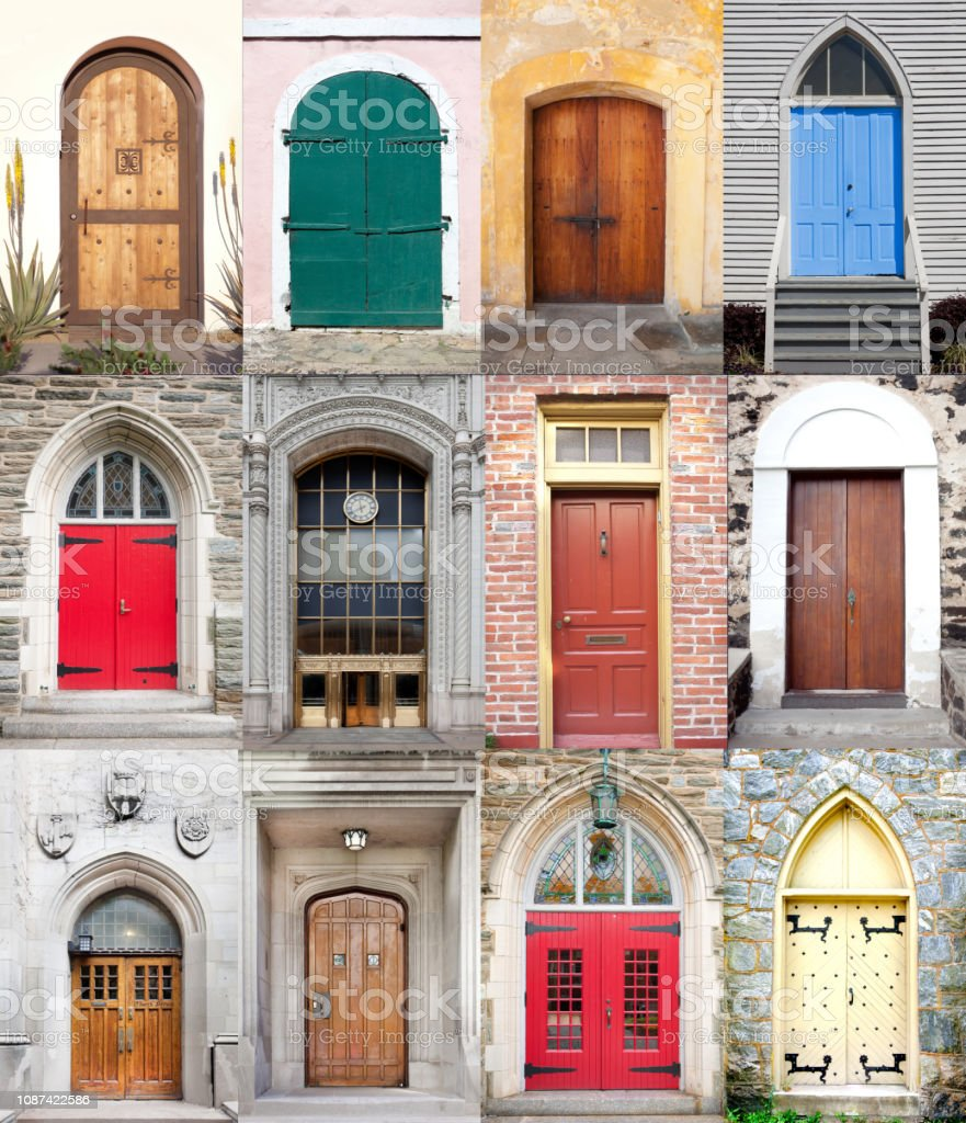 Multi Door Collage stock photo