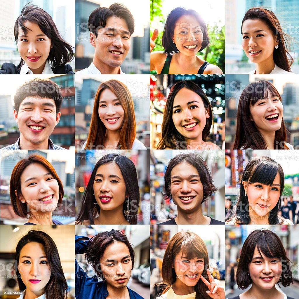 Multi ethnic asian people portraits stock photo