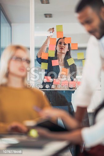 496441730istockphoto Multi ethnic business coworkers discussing during meeting  at office 1079278446